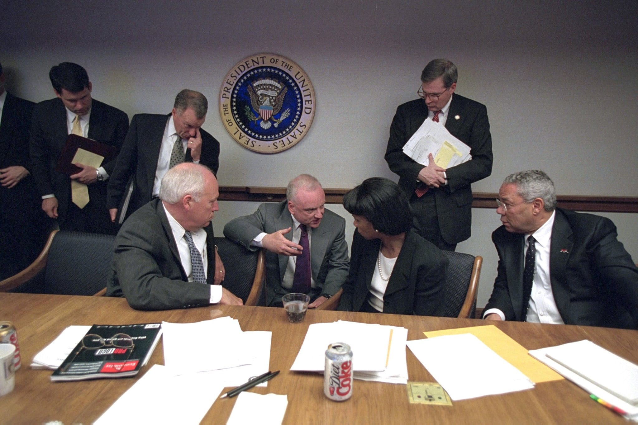 Clarke briefing Cheney, Rice and Powell in the PEOC on nine eleven