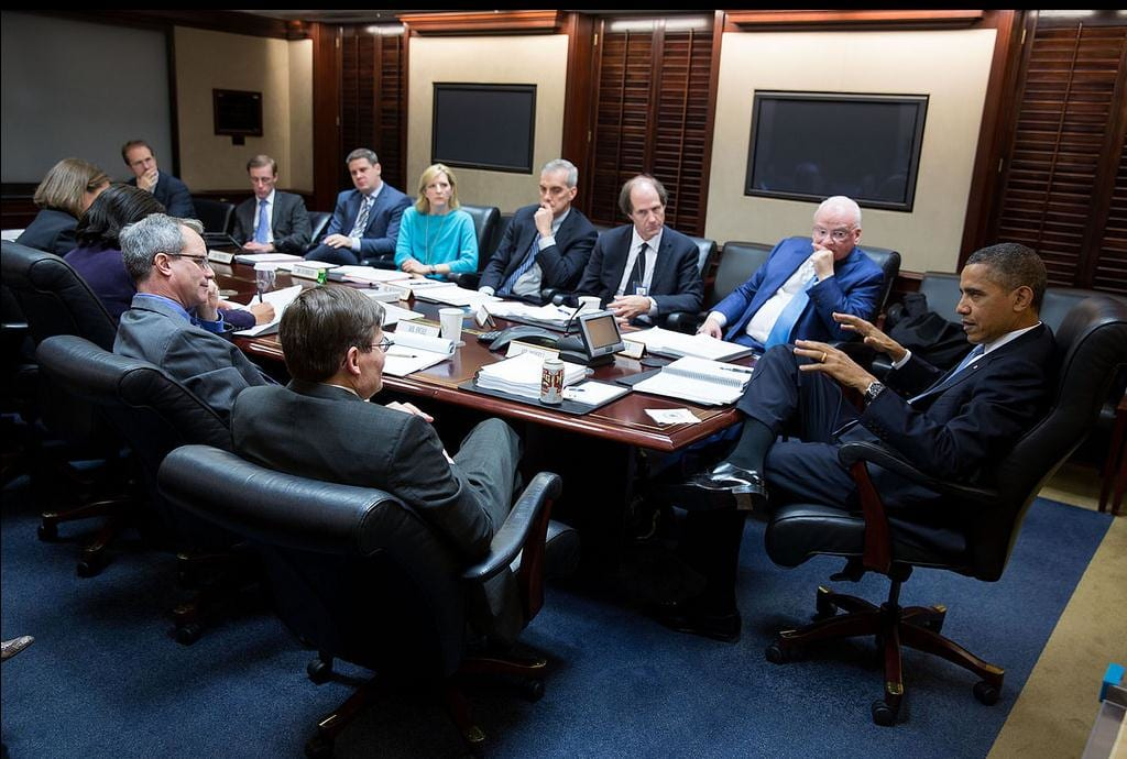 Clarke and others at a meeting with President Barack Obama