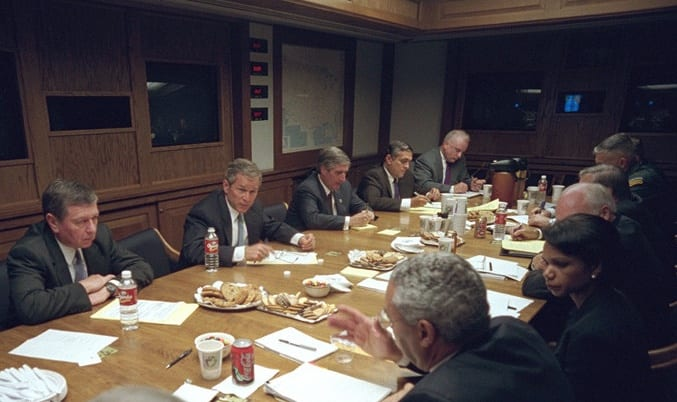 Clarke and President George W Bush and his team in the secure bunker on the night of nine eleven