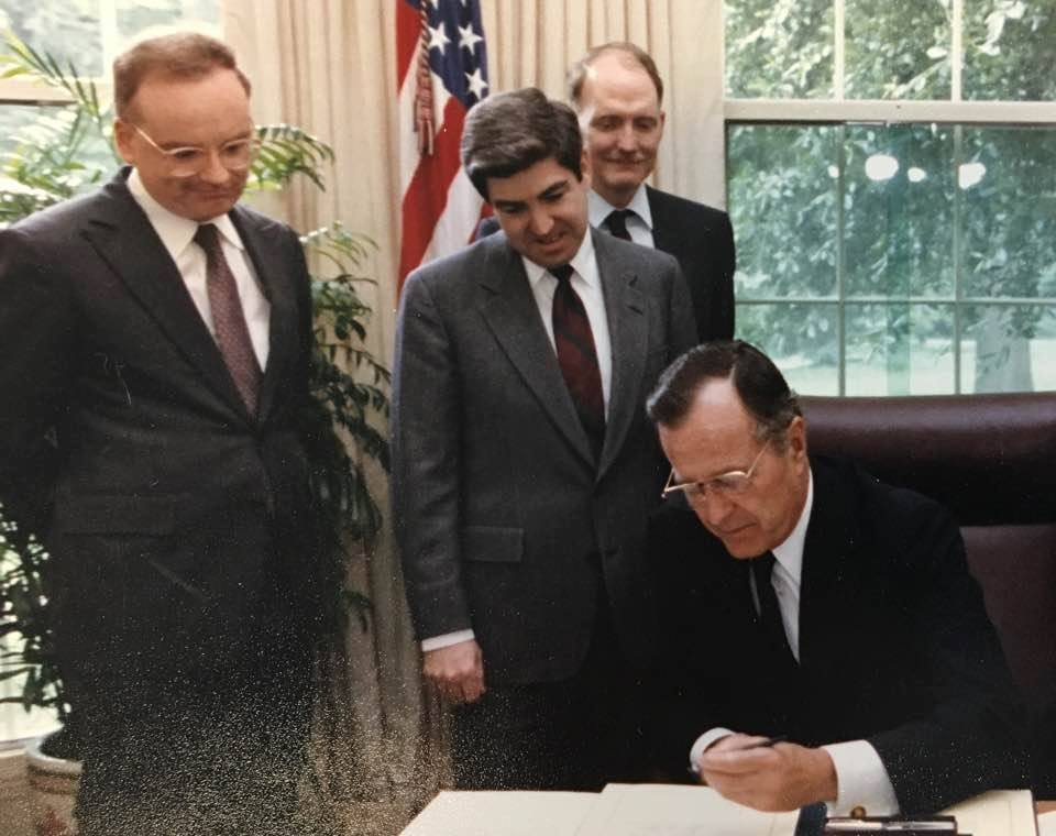 Clarke with President George H. W. Bush in the Oval Office