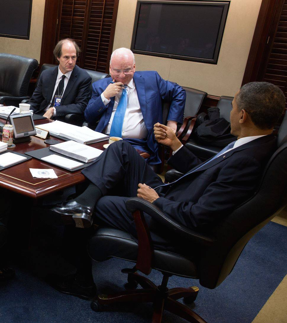 Richard Clarke with President Barack Obama in the Situation Room